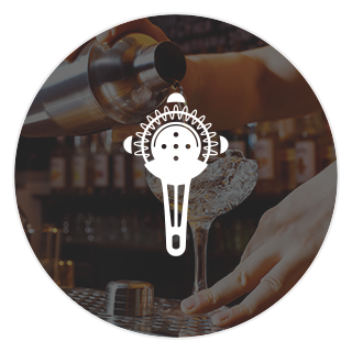 white cocktail strainer icon for cocktail development